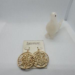 NWT Francesca's Gold Tree Earrings
